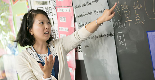 Teacher Sara Liu teaching Chinese at the blackboard.