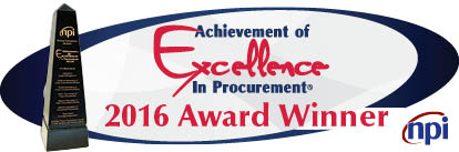 Graphic text: Achievement of Excellence in Procurement 2016 Award Winner