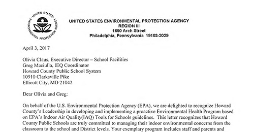 Letter from the United States Environmental Protection Agency