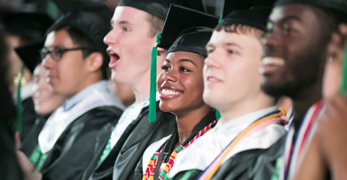 Excited students during their graduation ceremony.