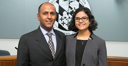Ananta Hejeebu and Anna Selbrede standing together
