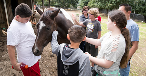 Students gathered around horse.