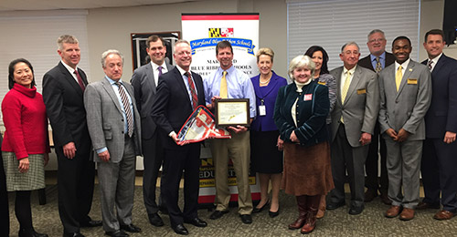 Blue ribbon award group with Dr. Martirano and Board Members