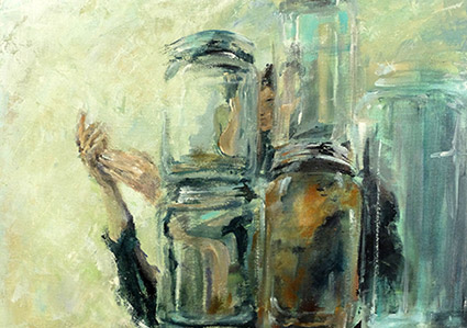 Painting of glass jars