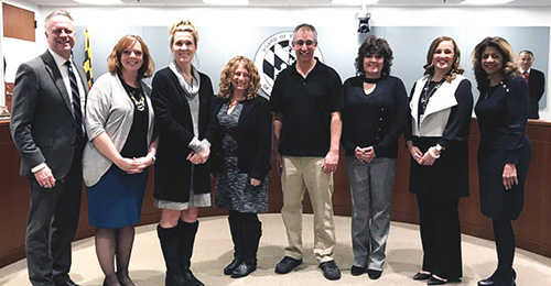 G/T staff being recognized by the Board of Education.