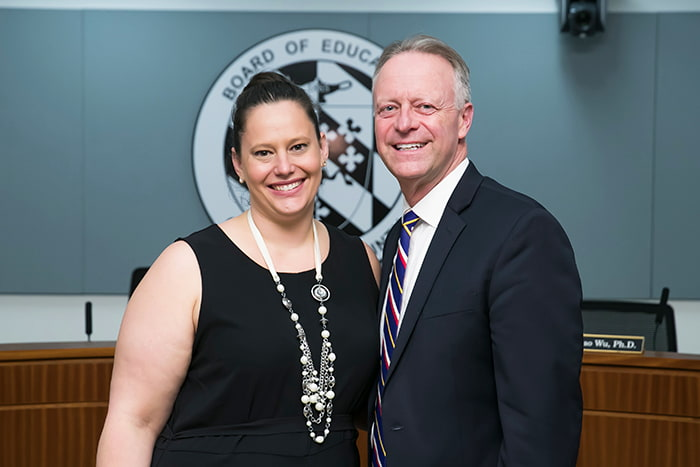 Kate Volpe with HCPSS Superintendent Michael J Martirano.