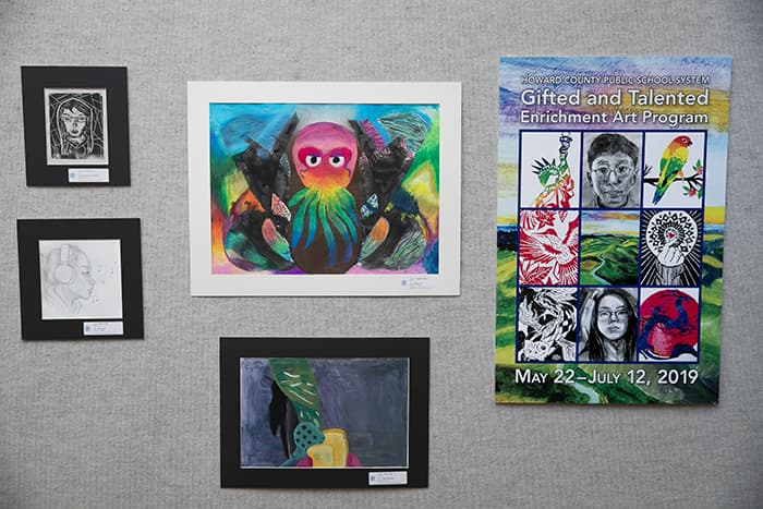 HCPSS Gifted and Talented Visual Arts Display.