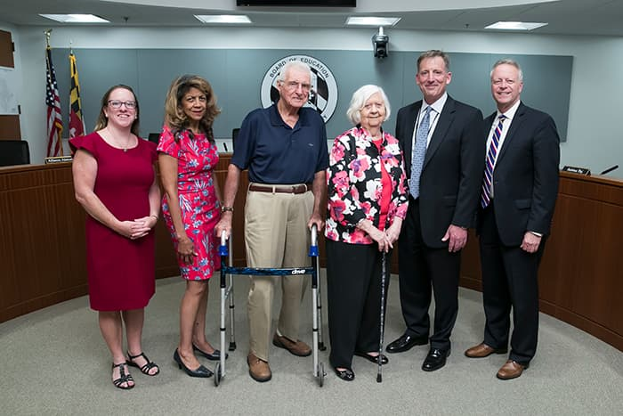Bus contractor Jenny Mullinix is honored by the HCPSS Board of Education.