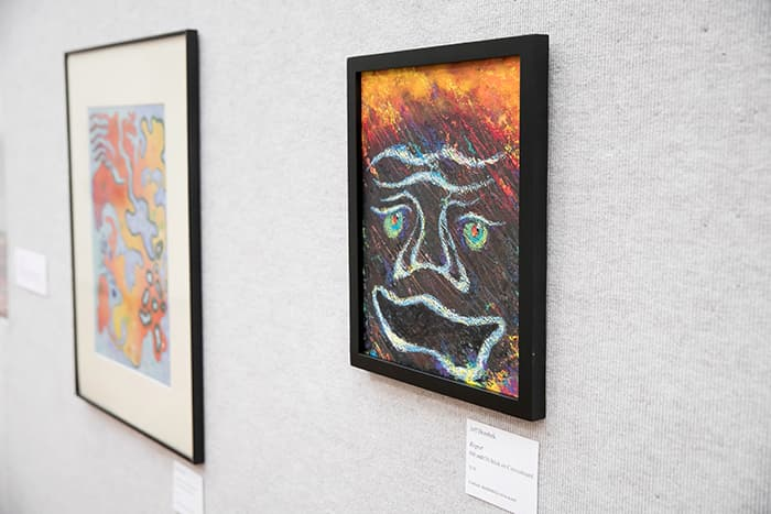 Two pieces from the HCPSS Retired Art Teacher display.