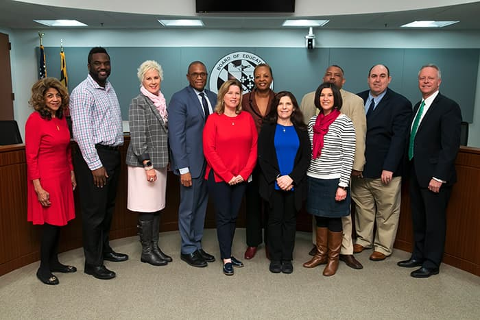 Mavis Ellis, Dr. Martirano, and several HCPSS high school administrators.