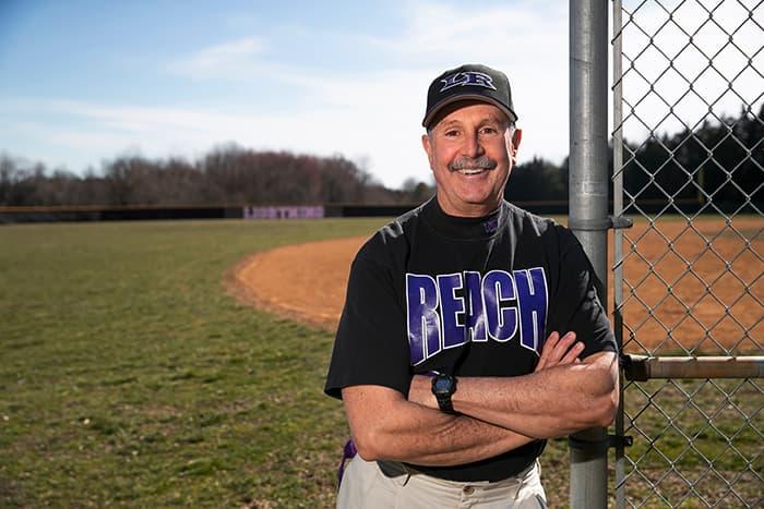 Timothy O'Brien on a baseball field.