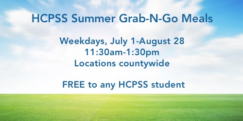 Weekdays, July 1 - August 28. 11:30am to 1:30am. Locations countywide. Free to any HCPSS student.