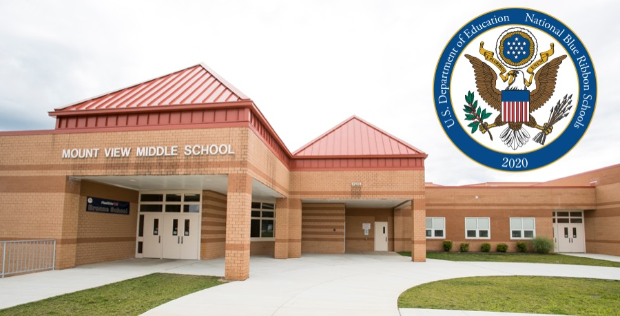 image of Mount View Middle School with National Blue Ribbon logo