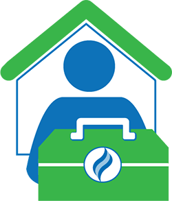graphic with icon of person in house with toolkit featuring HCPSS flame