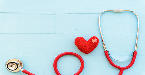 image of stethoscope and heart with bandaid