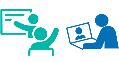 graphic of icons for in-person learning and virtual learning