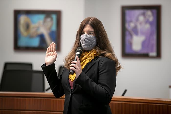 Jolene Mosley being sworn in.