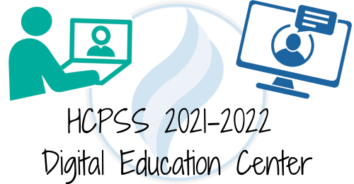 graphic showing icons of people on computer with text stating: HCPSS 2021-2022 Digital education Center