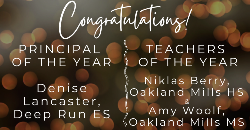 decorative image stating Congratulations Principal and Teachers of the Year
