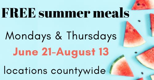 graphic stating free summer meals