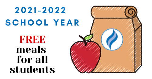 image of lunch bag with text stating, 2021-2022 school year. Free meals for all students