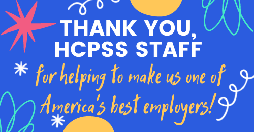 graphic of celebration images with text stating, Thank you, HCPSS staff, for helping to make us one of America's best employers!