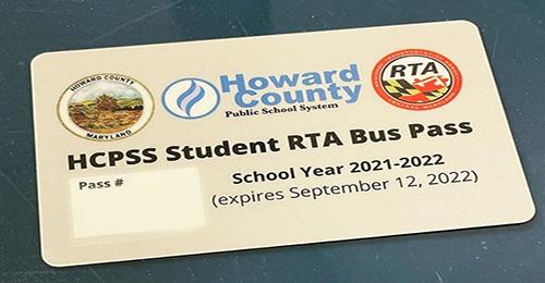 HCPSS Student RTA Bus Pass photo.